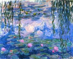 "Claude Monet, ""Water Lilies"" at his garden, in Giverny France. French Impressionist painter, Have at home framed & had another in my classroom. Claude Monet was born in Paris in 1840. He was a founder and key figure of the Impressionist movement...I had this print in my classroom and taught my students about it...1 of my fave paintings -Mari"