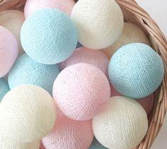 Pastel Sweet Cotton Ball Patio Party String Lights – Fairy, Wedding, Decor