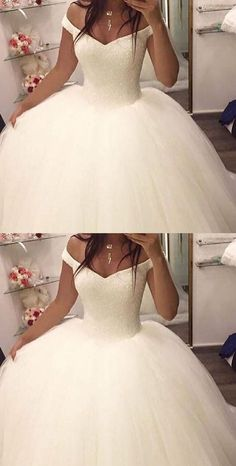 Off the shoulder ball gown wedding dresses,bridal gown, 2017 ball gown wedding dresses, dresses for bridal, elegant prom dresses - Off Shoulder Wedding Dress, Wedding Dress Train, Tulle Wedding, Dream Wedding Dresses, Bridal Dresses, 2017 Wedding, Puffy Wedding Dresses, Cinderella Wedding Dresses, Wedding Ceremony