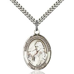 Sterling Silver St Finnian of Clonard Pendant 1 x 34 inches with Heavy Curb Chain -- Check this awesome product by going to the link at the image.(This is an Amazon affiliate link)