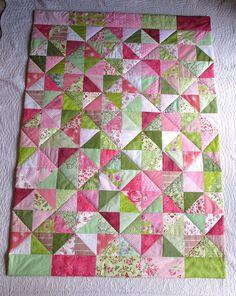 patchworkdecke rosa grun