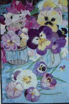 Pansies in a Vase: art quilt by Melinda Bula Thread Painting, Silk Painting, Watercolor Painting, Flower Quilts, Landscape Quilts, Arte Floral, Applique Quilts, Quilting Designs, Quilting Ideas