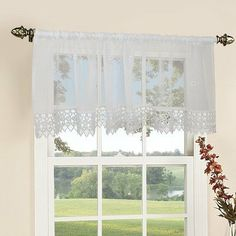 white color material polyester update your home decor with this attractive mecrema lace window valance requires standard or decorative curtain rod and