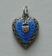 "Vintage Enameled ""Your Heart For Keeps"" Sterling Heart Charm"