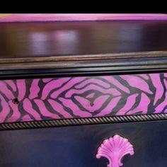 After! Pink and black Zebra dresser!