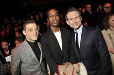 Rami Malek, A$AP Rocky and Christian Slater at the Front Row at Dior Homme Fall 2016
