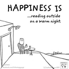 Happiness is... reading outside on a warm night.