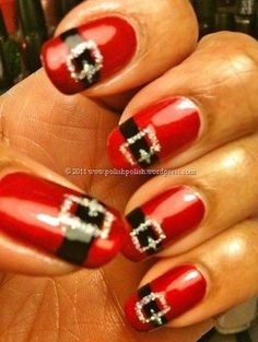 Not big on holiday nails, but these Santa Nails even I could get down with!