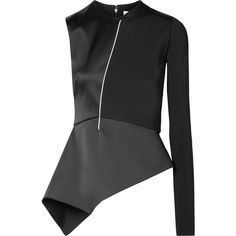 Esteban Cortazar One-sleeve satin and jersey peplum top (11.852.005 IDR) ❤ liked on Polyvore featuring tops, black, one sleeve top, sleeve jersey, asymmetric tops, peplum top and form fitting tops