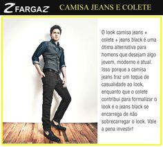 Agora é a vez dos homens! Quer um visual moderninho e, ao mesmo tempo, descolado? Que tal investir no trio camisa jeans + colete + calça black. Veja a nossa dica de moda do dia!