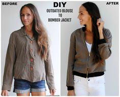 Trash To Couture: DIY: Button Down to Bomber Jacket