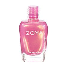 Zoya Nail Polish in Happi can be best described as: Pink metallic duochrome. A frosty hint of gold creates a unique peachy-pink