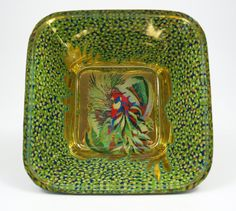 Gold and Green Parrot Glass Bowl by JanMaitlandGallery on Etsy, $600.00