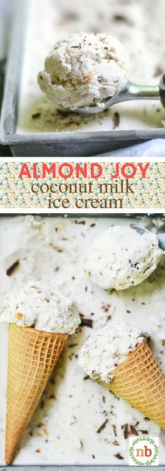 A delicious coconut milk ice cream with dark chocolate, almond, and toasted coconut mixed throughout.