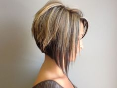 Graduated stacked bob. Love highlights and lowlights.
