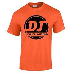 Camiseta naranja talla XL de hombre personalizada con logo de DJ AÑADE TU NOMBRE #camiseta #starwars #marvel #gift