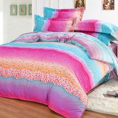 Neon Color Aqua and Hot Pink Colorful Bending Stripe Print Polka Dot Design Elegant Girls 100% Cotton Damask Full, Queen Size Bedding Sets