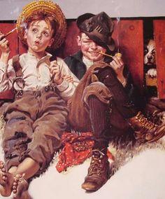 Norman Rockwell was een illustrator uit Amerika in de 19e eeuw. Hij maakte bijna fotorealistische beelden, maar bracht hier toch karikaturale beelden in aan. Zijn werken zijn ontzettend herkenbaar. Norman is voor mij een auteur door zijn subtiele manier van kritiek leveren op de Amerikaanse cultuur. Het is nooit keihard, het is altijd heel subtiel. Ik vind dit geweldig.