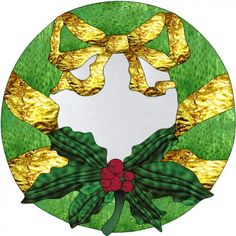 Stained Glass Christmas Wreath Hanging - Gold Bow w/Holly and Berries