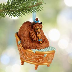 Disney Store 2015 Sketchbook glitter Beast, hot tub christmas ornament!