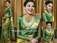 For a recent photoshoot, Andrea Jeremiah donned a green kanjeevaram silk saree paired with matching full sleeves blouse by Pothys. Traditional jewelry from VBJ and a center parted gajra bun rounded out her look! Full Sleeves Blouse Designs, Saree Blouse Neck Designs, Saree Blouse Patterns, Bridal Blouse Designs, Kanjivaram Sarees, Silk Sarees, Saris, Saree Jackets, Bridal Silk Saree