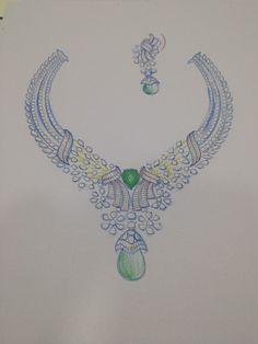 Jewellery Sketches, Jewelry Drawing, Jewelry Art, Jewelry Design, Diamond Earing, Diamond Jewelry, Diamond Necklaces, Jewelry Illustration, Gemstone Necklace