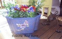 Eclectic Red Barn: Blue wicker basket with Decoupage prints
