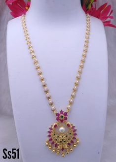 Jewelry OFF! Beautiful one gram gold long chain with chaandbali pendant. Long chain studded with pink color stones. Pearl Necklace Designs, Beaded Jewelry Designs, Jewelry Design Earrings, Gold Earrings Designs, Gold Jewellery Design, Pearl Jewelry, Long Pearl Necklaces, Diamond Jewellery, Ethnic Jewelry