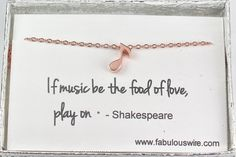 Rose Gold Music Note Necklace Eighth Note Quaver by FabulousWire