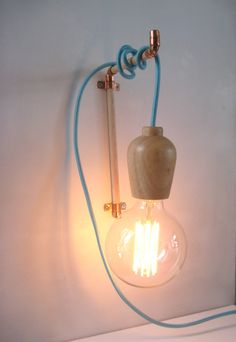 Copper Wooden Wall Hook | Hanger for Pendant Light | Tasminian Oak with Copper Fittings | Simple Natural Scandi Inspired