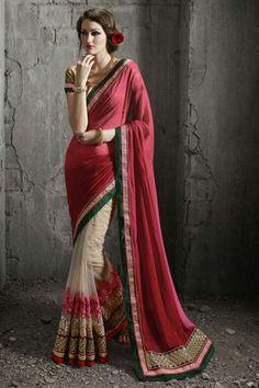 Pink-Beige #Georgette Festive Wear Designer #Saree $-77