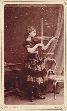 Girl playing on violin, New Jersey, ca. 1870