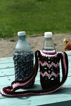 Water bottle cozy pattern :) could use for a bottle or even a sippy cup!