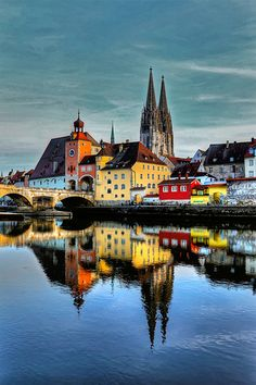 The Cathedral of Regensburg and the Old City Gate at the Stonebridge, Germany