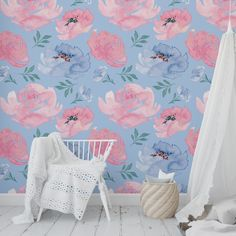 Wallpaper Teal And Pink, Diy Wallpaper, Nursery Wallpaper, Peel And Stick Wallpaper, Blue Peonies, Pastel House, Diy Canvas Art, Blue Wallpapers, Accent Walls