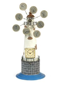 A rare early 20th century Continental novelty lighthouse timepiece