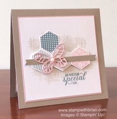 hand crafted card featuring hexagons from Six-Sided Sampler by Brian King ... luv the matting with tiny lines showing on a wide mat look with the kraft  base showing ... Stampin' Up!