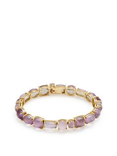 Shanghai Yellow Gold & Amethyst Doublet Bangle Bracelet