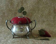 Primitive Wool Vintage Silver Sugar Bowl Pincushion Strawberry Emery Fob Pinkeep