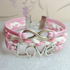 Love Bracelet,Infinity Bracelet.Light Pink Wax Cords and White with Light Pink braid bracelet.. $6.99, via Etsy.