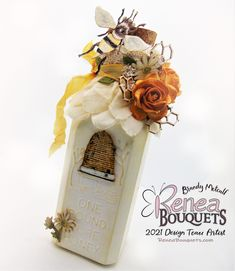 Just Buzzing By to share this gorgeous Altered Bottle Created By Reneabouquets Design Team Artist Brandy Metcalf using the brand new Sugar Bee Collection that was designed for her from Reneabouquets: www.Reneabouquets.com