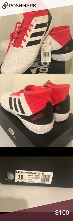 buy popular 1ce0d 262d7 Adidas Predator Tango 18.3 IN White Coral Size 10 Adidas Men s Predator Real  Coral Black and
