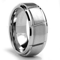 @Overstock - Men's tungsten carbide ringTungsten jewelryClick here for ring sizing guidehttp://www.overstock.com/Jewelry-Watches/Mens-Tungsten-Carbide-Diagonal-Grooved-Ring-9-mm/6415468/product.html?CID=214117 $48.49