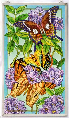 Butterflies in Transition Hydrangeas Butterfly 23x13 Art Glass Window Panel | eBay