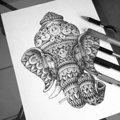 Ganesha Tattoo Mandala, Ganesha Drawing, Lord Ganesha Paintings, Ganesha Art, Ganesha Sketch, Shri Ganesh, Art Drawings Sketches Simple, Pencil Art Drawings, Black Pen Sketches