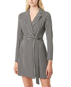 French Connection Sadira Houndstooth Check Long Sleeve Dress In Black/white French Connection Style, Houndstooth Dress, Black Long Sleeve Dress, Dress Black, Dresses For Work, Dresses With Sleeves, Blazer Fashion, Review Dresses, Knit Dress