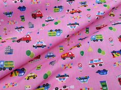 Cars trucks vehicles Happy driving poly cotton by TheFabricShopUK