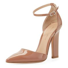 """105mm Patent d'Orsay Ankle-Wrap Sandal by Gianvito Rossi. Gianvito Rossi patent leather sandal. 4.1"""" covered column heel. Pointed toe. d'Orsay silhouette. Adjustable ankle wra..."""