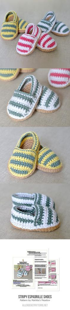 Stripy Espadrille Shoes Crochet Pattern ☂ᙓᖇᗴᔕᗩ ᖇᙓᔕ☂ᙓᘐᘎᓮ…o l qa Crochet Diy, Crochet Slippers, Love Crochet, Crochet For Kids, Crochet Crafts, Crochet Projects, Crochet Poncho, Baby Knitting Patterns, Crochet Patterns