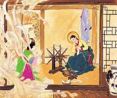 """The Annunciation"" by Korean artist Woonbo Kim Ki-chang"